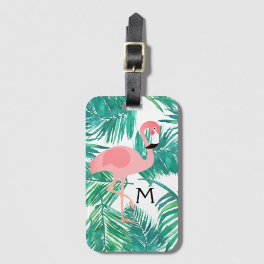 monogram flamingo art on tropical leaves bag tag