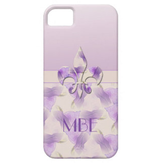 Monogram Fleur de Lis and Violets iPhone 5 Covers