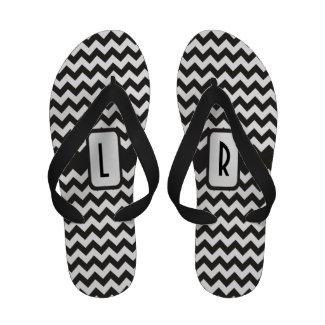 Monogram Flip flop Sandals: Black, White Chevrons