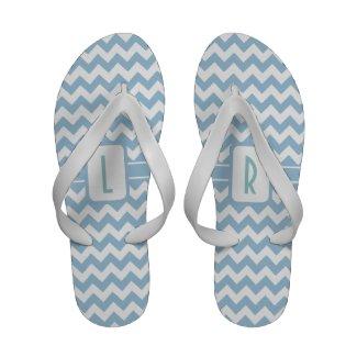 Monogram Flip flop Sandals: Blue, White Chevrons