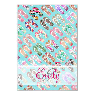 Monogram Flip Flops Girly Trendy Abstract Pattern 9 Cm X 13 Cm Invitation Card