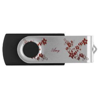 Monogram Floral Art USB Swivel Flash Drive