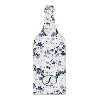 Monogram Floral indigo blue personalizam design Cutting Board