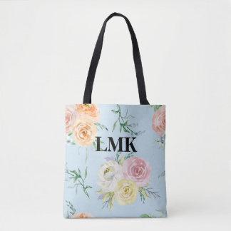 Monogram Floral Pattern Tote Bag