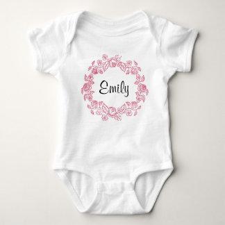 Monogram Floral Personalised Baby Bodysuit