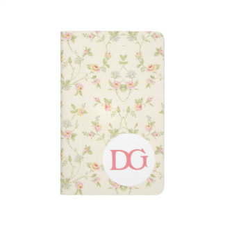 Monogram Floral Pink Girly Cute Pocket Journal