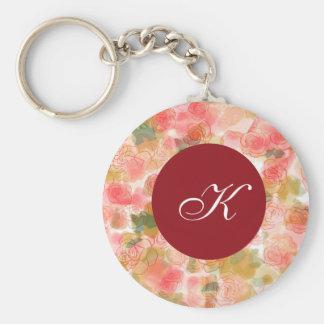 Monogram Floral Roses Key Chain