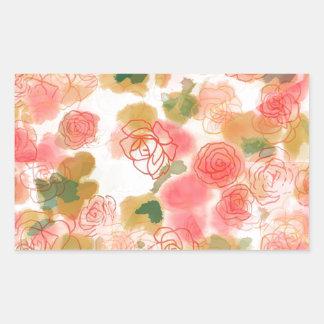 Monogram Floral Roses Rectangular Sticker