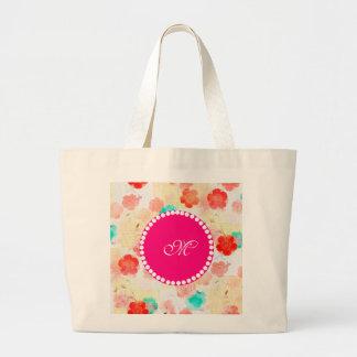 Monogram Floral Roses Tote Bag