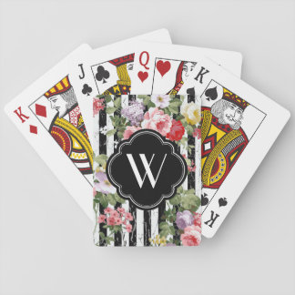 Monogram Floral Weathered Black Stripe Playing Cards