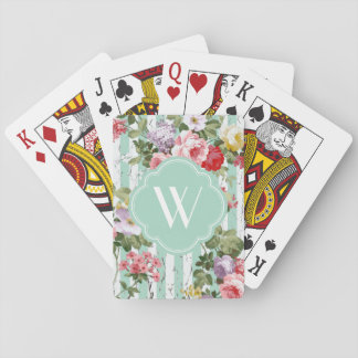 Monogram Floral Weathered Green Stripe Playing Cards