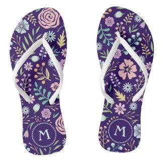 Monogram Floral Whimsical Boho Pattern Flip Flops