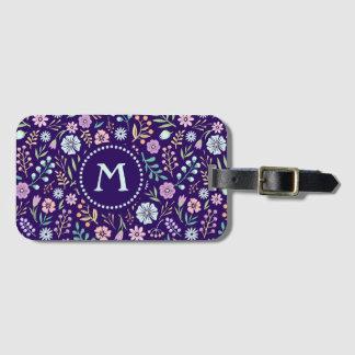 Monogram Floral Whimsical Boho Pattern Luggage Tag