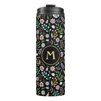 Monogram Floral Whimsical Boho Thermal Tumbler