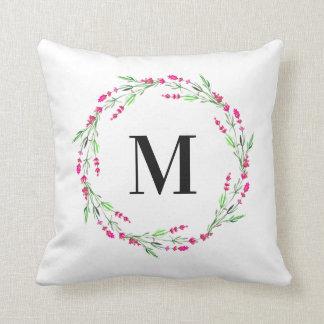 Monogram Floral Wreath Pillow