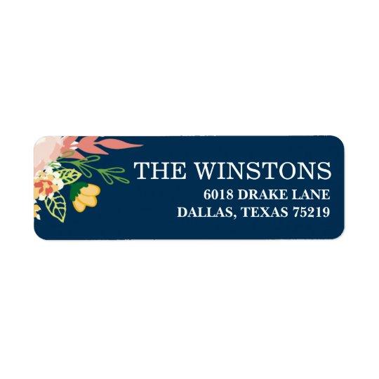 Monogram Floral Wreath   Return Address Label