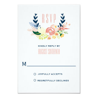 Monogram Floral Wreath   RSVP Card 9 Cm X 13 Cm Invitation Card