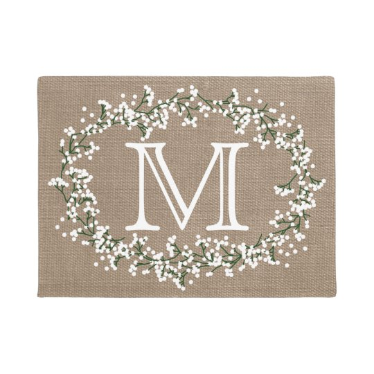 Monogram Floral Wreath & Rustic Burlap Effect Doormat