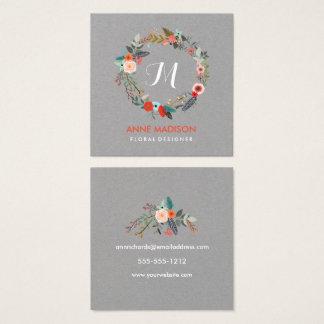 Monogram Floral Wreath Square Square Business Card