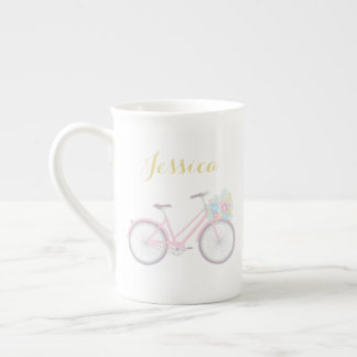Monogram Flower Bicycle Cute Pastel China Mug