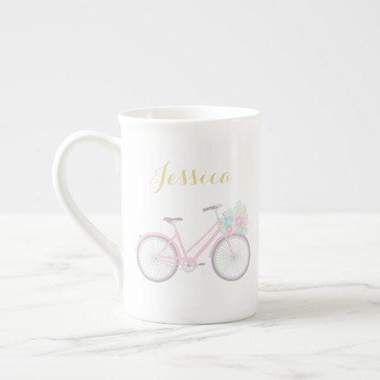 Monogram Flower Bicycle Cute Pastel China Mug