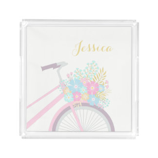 Monogram Flower Bicycle Cute Pastel Hipster Tray