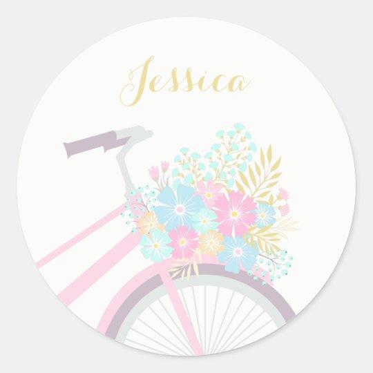 Monogram Flower Bicycle Cute Pastel Sticker