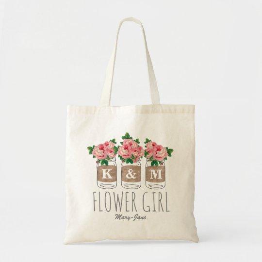 MONOGRAM FLOWER GIRL | MASON JAR WEDDING TOTE