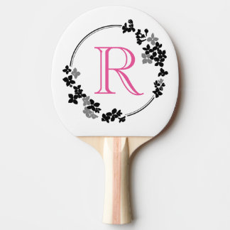 Monogram Flowers Frame Ping Pong Paddle