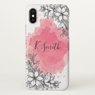 Monogram. Flowers on Pink Watercolor Background iPhone X Case
