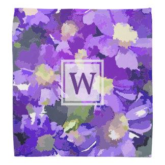 Monogram Flowers Purple Daisies Floral Botanical Bandana