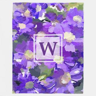 Monogram Flowers Purple Daisies Floral Botanical Fleece Blanket