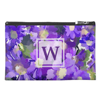 Monogram Flowers Purple Daisies Floral Botanical Travel Accessory Bag