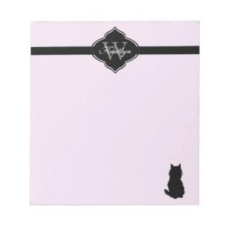 Monogram Fluffy Cat on Pink Notepad