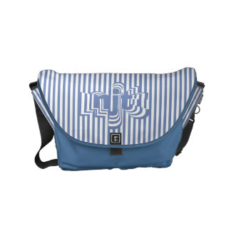 Monogram Font art - Blue and White Striped Commuter Bag