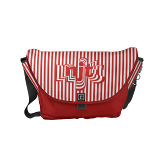 Monogram Font art - Red and White Striped Commuter Bags