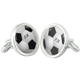 Monogram Football Soccer Ball Cuff Links