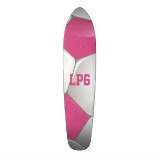 Monogram Football Soccer Ball Pink and White Custom Skate Board