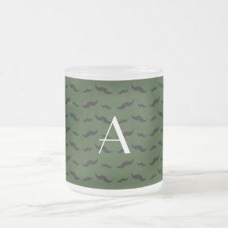Monogram forest green mustache pattern coffee mug