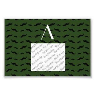 Monogram forest green mustache pattern photograph