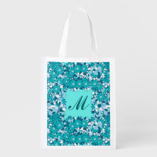 Monogram framed with flowers - blue and white reusable grocery bags