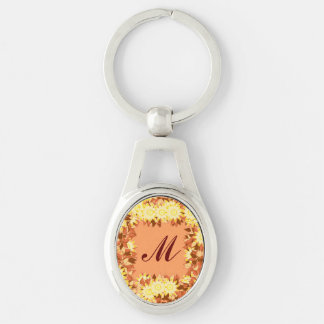 Monogram framed with flowers - cocoa & yellow key ring