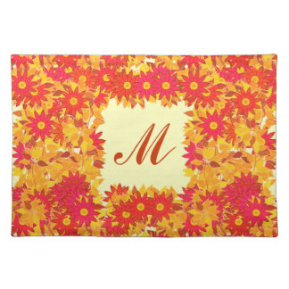Monogram framed with flowers - red and gold place mat
