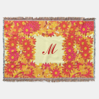 Monogram framed with flowers - red and gold throw blanket