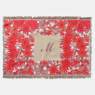 Monogram framed with flowers - red and taupe throw blanket