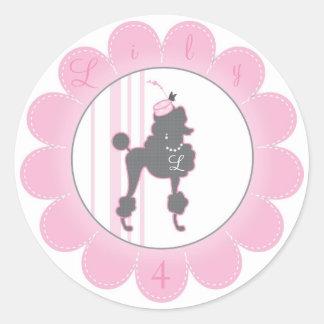 Monogram French Poodle Favor Sticker