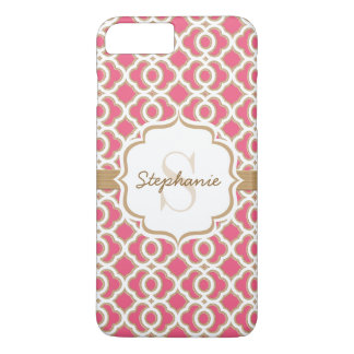 Monogram Fuchsia and Gold Quatrefoil iPhone 8 Plus/7 Plus Case
