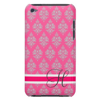 Monogram,Fuchsia,Grey, Damask,iPod Touch Case