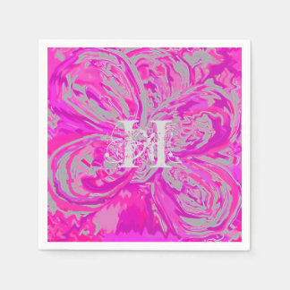 Monogram Fuchsia Pink Cocktail Paper Napkins
