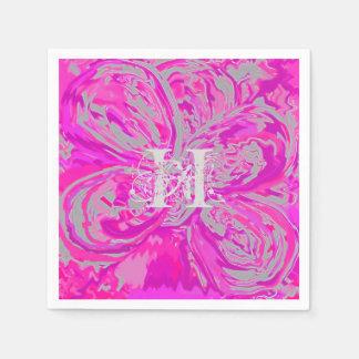 Monogram Fuchsia Pink Cocktail Paper Napkins Disposable Serviette